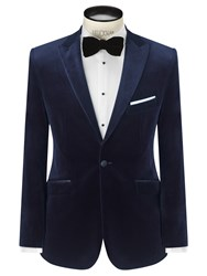 John Lewis Velvet Peak Lapel Tailored Blazer Midnight Blue