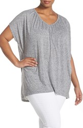 Plus Size Women's Sejour Shirred V Neck Knit Tunic