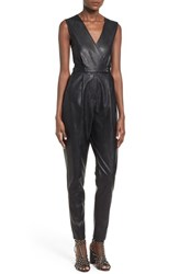 Women's Missguided Wrap Front Faux Leather Jumpsuit