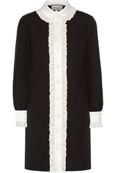 Gucci Ruffle Trimmed Wool And Silk Blend Crepe Shirt Dress