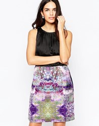 Lavand High Neck Dress With Contrast Abstract Print Skirt P