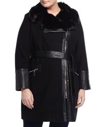 Via Spiga Belted Faux Fur Trim Coat W Faux Leather Detail Black