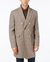 Tallia Men's Slim Fit Double Breasted Overcoat Oatmeal