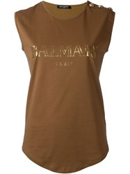 Balmain Logo Sleeveless Top Brown