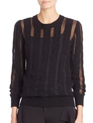 Ralph Lauren Sheer Cabled Cashmere Sweater Black