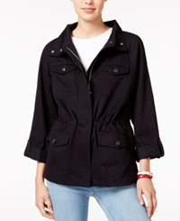 Tommy Hilfiger Roll Tab Anorak Jacket Only At Macy's Deep Black