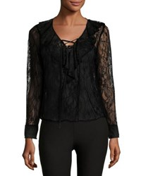 Label By 5Twelve Ruffle Front Lace Blouse Black