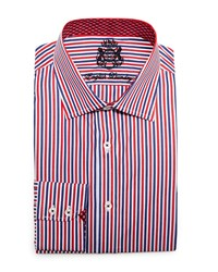 English Laundry Striped Woven Dress Shirt Red Blue