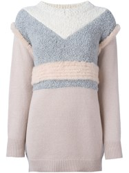 Agnona Textured Colour Block Jumper Pink And Purple