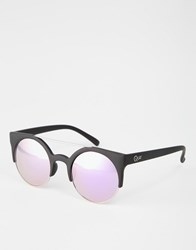 Quay Australia Cat Eye Round Sunglasses With Mirror Lens Black Purple M