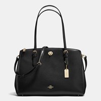 Coach Turnlock Carryall In Crossgrain Leather Light Gold Black