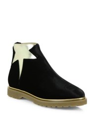 Charlotte Olympia Newton Velvet And Metallic Leather Booties Black Gold