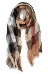 Women's Burberry Brit Sheer Mega Check Scarf Beige Camel Check