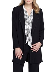Tahari By Arthur S. Levine Plus Open Drape Faux Leather Long Jacket Black