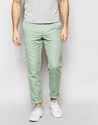 United Colors Of Benetton Slim Fit Chino In Linen Green