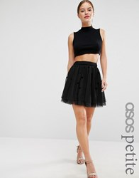 Asos Petite Halloween Mini Tulle Prom Skirt In Flocked Polka Dot Black