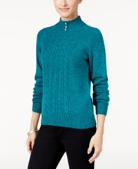 Karen Scott Mock Neck Cable Knit Sweater Only At Macy's Teal Shimmer Marl