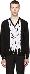 Alexander Mcqueen Black And White Panel Sweater