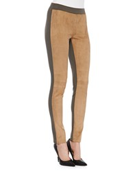 Lafayette 148 New York Skinny Combo Moto Pants Camel Lead Women's