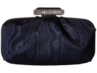 Oscar De La Renta Goa Moire Faille Midnight Moire Faille Clutch Handbags Navy