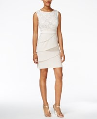 Connected Sequined Lace Tiered Sheath Dress Ivory