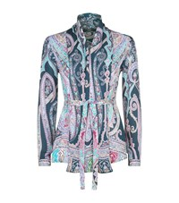 Etro Printed Silk Belted Shirt Female Navy