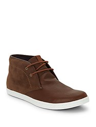 Ben Sherman Victor Leather And Suede Chukka Boots Cognac