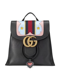 Gucci Gg Marmont Leather Backpack Black Black With Stars