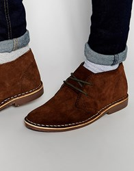 Red Tape Leather Suede Dessert Boots Brown
