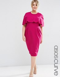 Asos Curve Wiggle Dress With Frill Sleeve Plum Purple