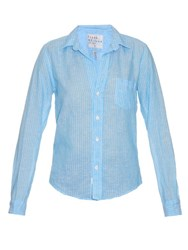 Frank And Eileen Barry Striped Linen Shirt Blue