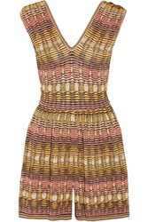 M Missoni Metallic Crochet Knit Playsuit Pink