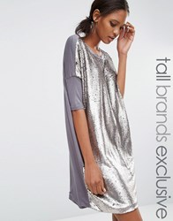 Daisy Street Tall Oversized Tshirt Dress In Allover Sequin Silver