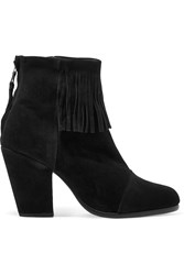 Rag And Bone Newbury Fringed Suede Ankle Boots Black