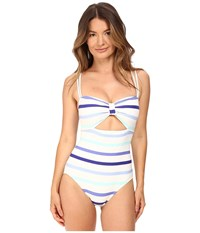 Kate Spade Early Cruise 17 Double Strap Peep Hole Maillot Adventure Blue Women's Swimsuits One Piece
