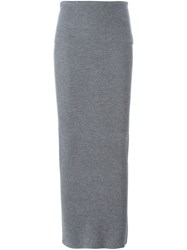 Stella Mccartney Ribbed Design Maxi Skirt Grey