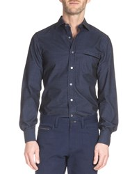 Berluti Check Print Long Sleeve Sport Shirt Navy