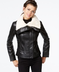 Guess Faux Fur Collar Faux Leather Jacket