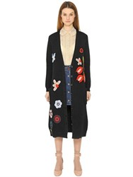 Red Valentino Wool Knit Cardigan W Crochet Embroidery