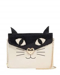 Betsey Johnson Cat Faux Leather Clutch Bag Cream