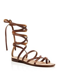 Splendid Carly Lace Up Gladiator Flat Sandals Cognac