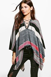 Boohoo Lace Up Poncho Red