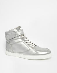 Asos High Top Trainers Silver