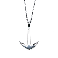 Miansai Silver Tone Anchor Necklace Oxidized