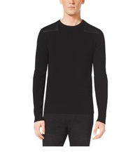 Michael Kors Leather Trim Wool Sweater Black