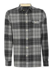 Howick Men's Manhattan Brushed Check Long Sleeve Shirt Grey