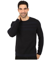 Calvin Klein Cotton Acrylic Moss And Garter Stitch Crew Neck Sweater Navy Men's Sweater