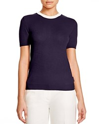 Moncler Cashmere Blend Color Block Knit Tee Navy
