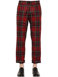 Bernardo Giusti Plaid Wool Gabardine Jogging Pants