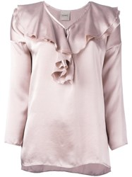Nude Ruffled Neck Blouse Pink Purple